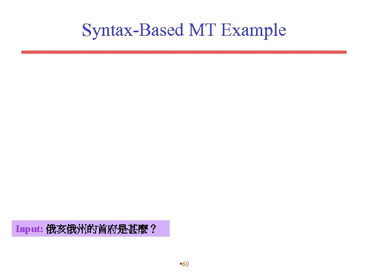 Syntax-Based MT Example Input: 俄亥俄州的首府是甚麼? • 60