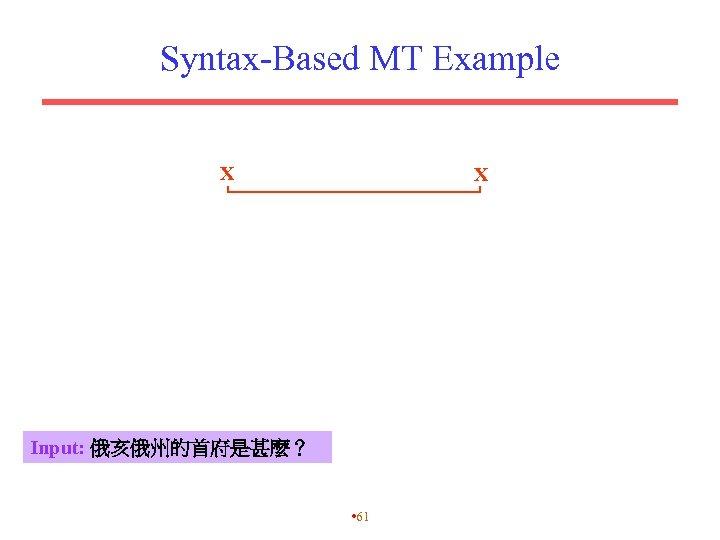 Syntax-Based MT Example X X Input: 俄亥俄州的首府是甚麼? • 61