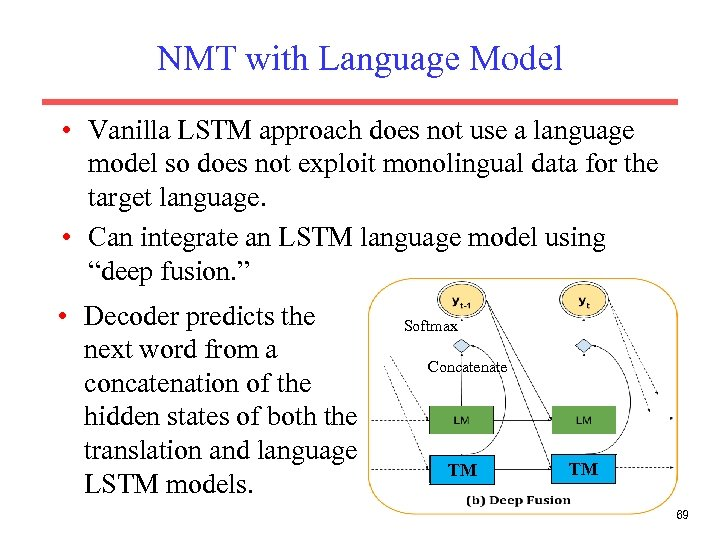 NMT with Language Model • Vanilla LSTM approach does not use a language model