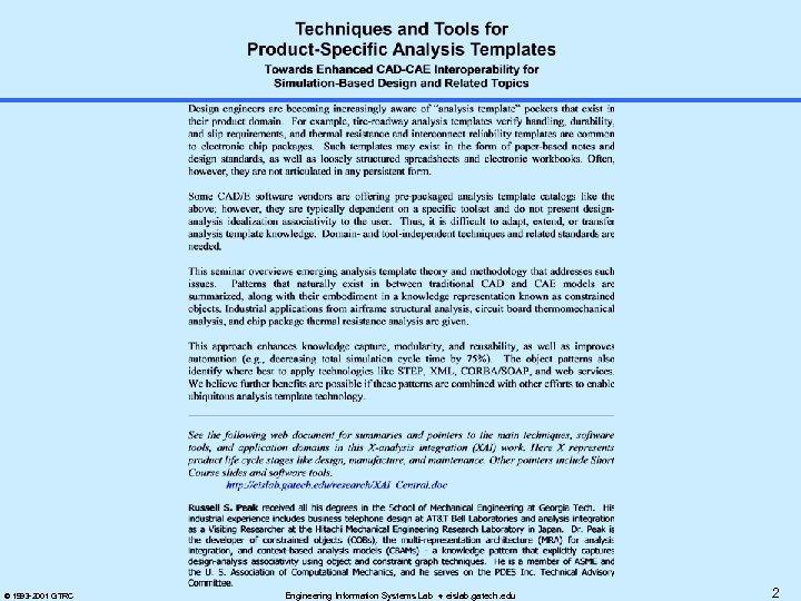 © 1993 -2001 GTRC Engineering Information Systems Lab eislab. gatech. edu 2