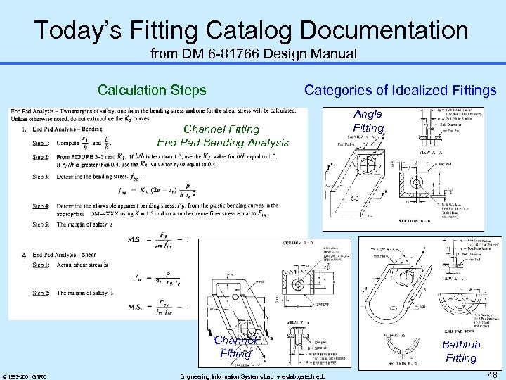 Today's Fitting Catalog Documentation from DM 6 -81766 Design Manual Calculation Steps Categories of