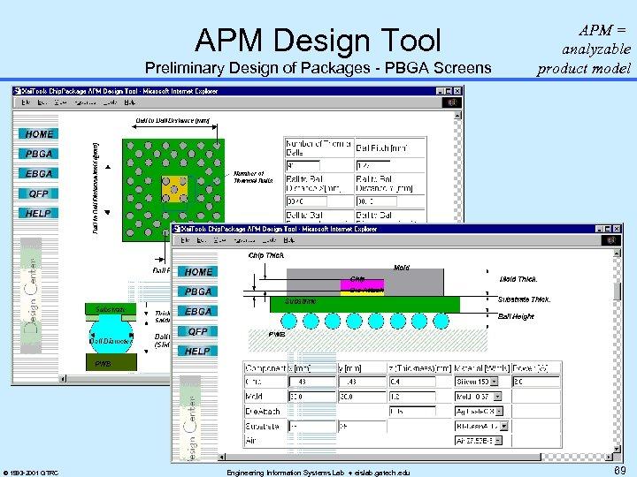 APM Design Tool Preliminary Design of Packages - PBGA Screens © 1993 -2001 GTRC