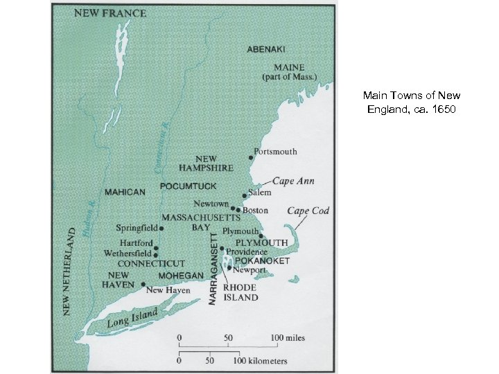 Main Towns of New England, ca. 1650