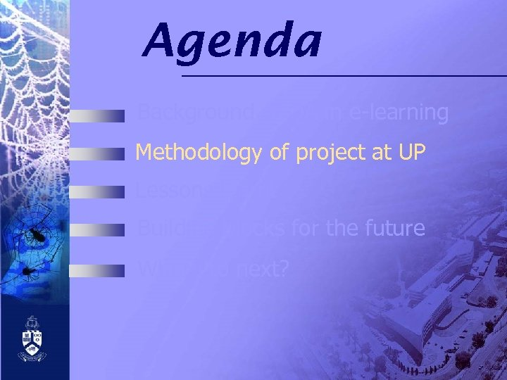Agenda Background of QA in e-learning Methodology of project at UP Lessons learnt Building