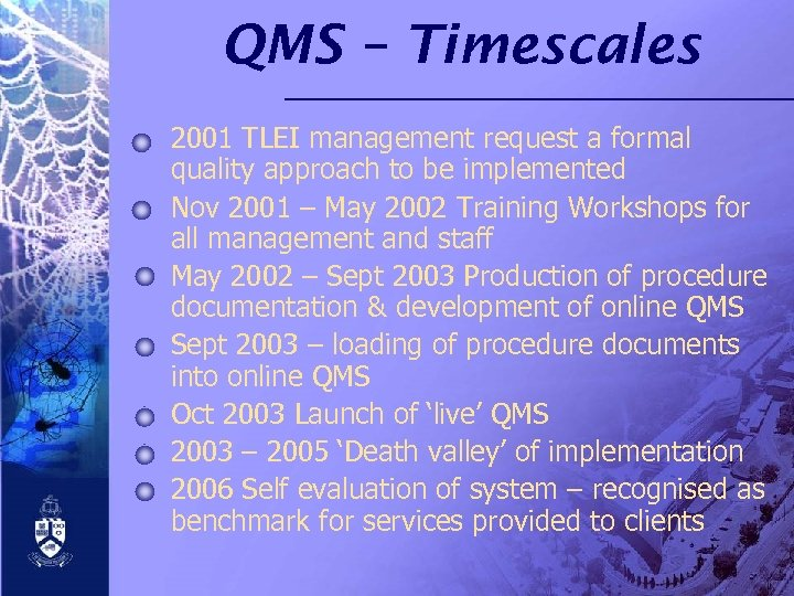 QMS – Timescales 2001 TLEI management request a formal quality approach to be implemented