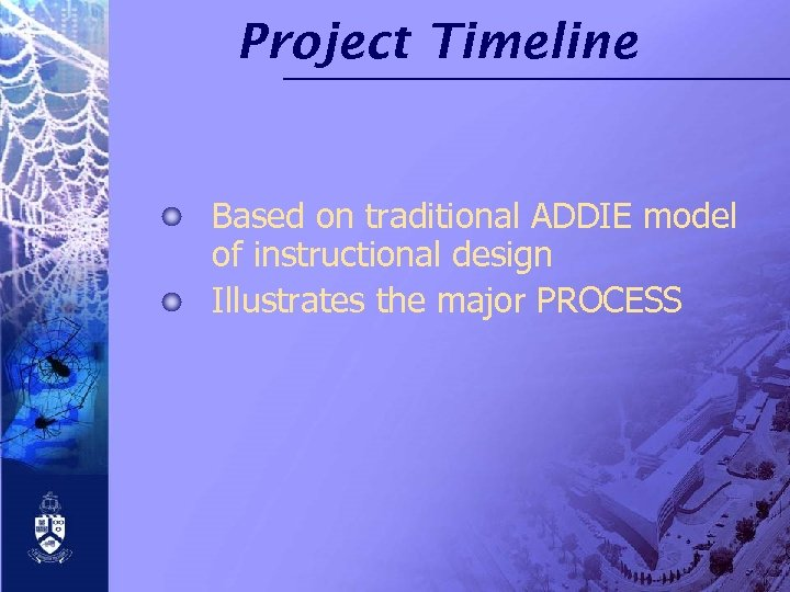 Project Timeline Based on traditional ADDIE model of instructional design Illustrates the major PROCESS