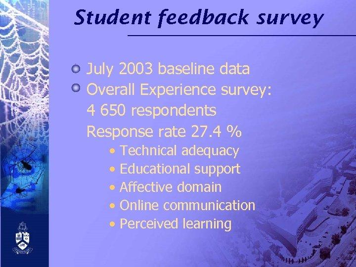 Student feedback survey July 2003 baseline data Overall Experience survey: 4 650 respondents Response