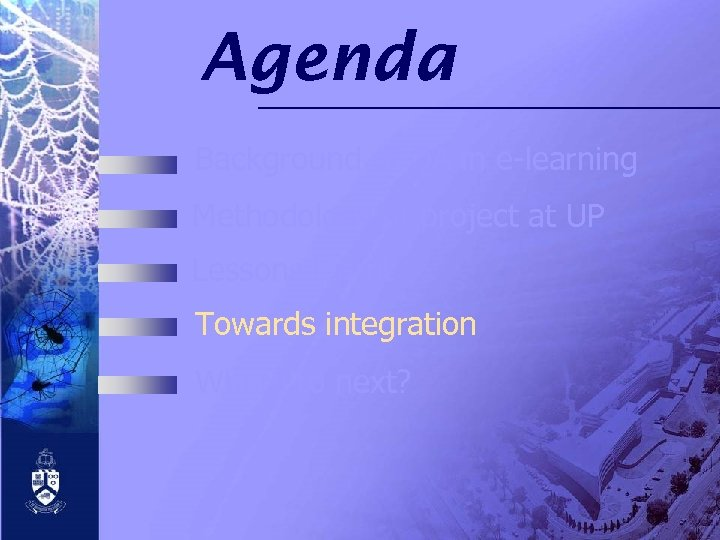 Agenda Background of QA in e-learning Methodology of project at UP Lessons learnt Towards