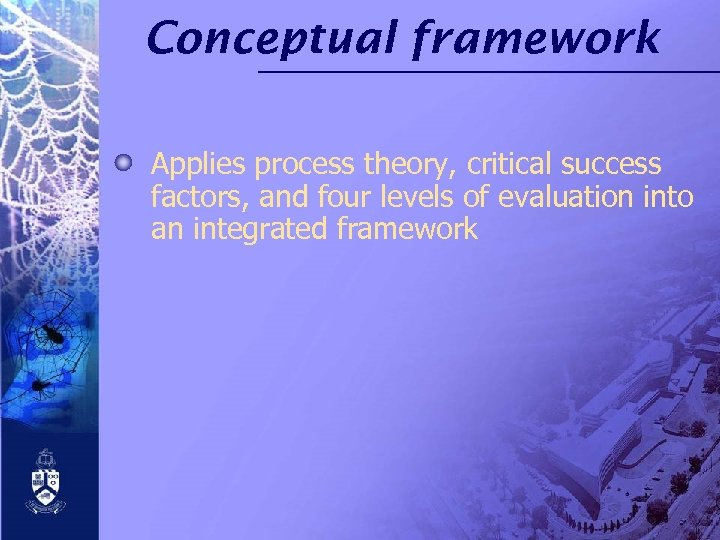 Conceptual framework Applies process theory, critical success factors, and four levels of evaluation into