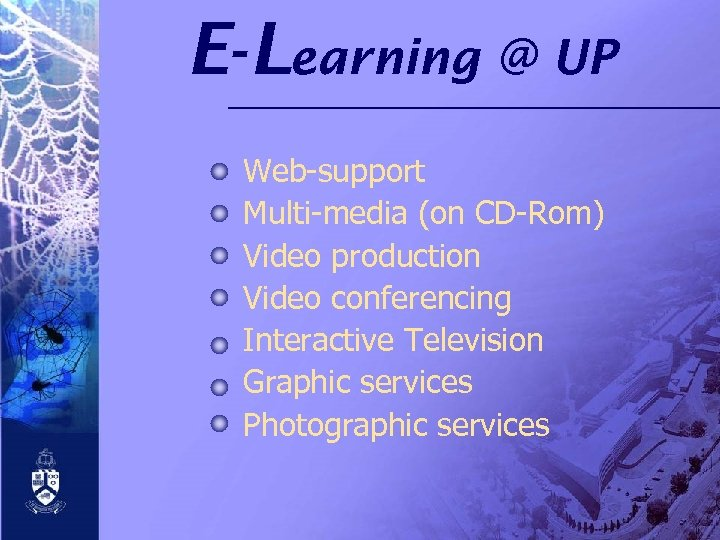 E- Learning @ UP Web-support Multi-media (on CD-Rom) Video production Video conferencing Interactive Television