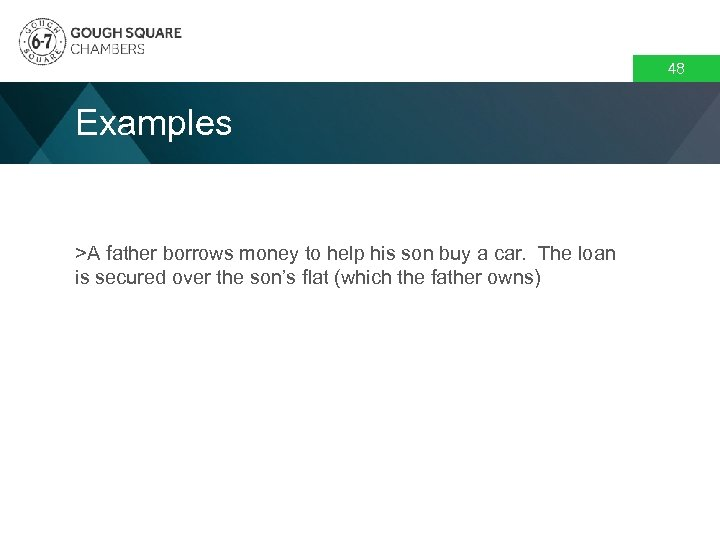 48 Examples >A father borrows money to help his son buy a car. The