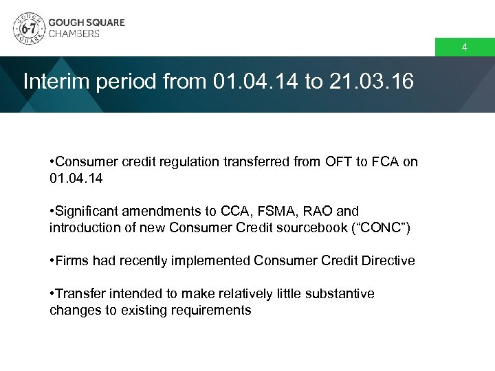 4 Interim period from 01. 04. 14 to 21. 03. 16 • Consumer credit