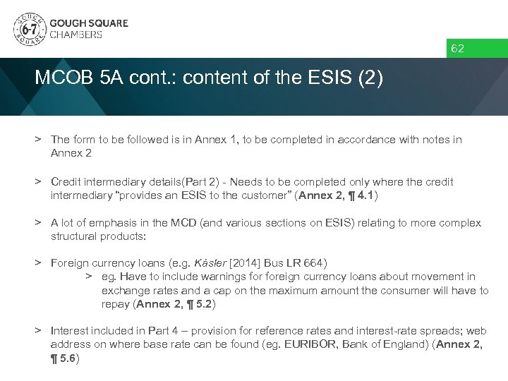 62 MCOB 5 A cont. : content of the ESIS (2) > The form