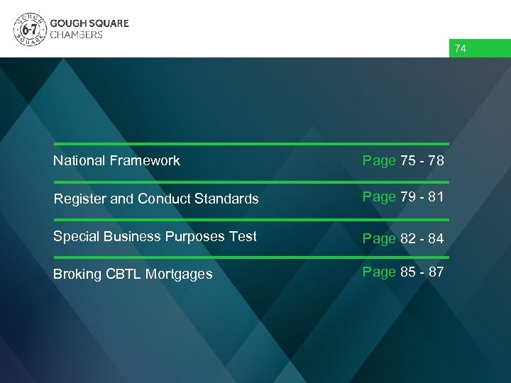 74 Overview National Framework Page 75 - 78 Register and Conduct Standards Page 79