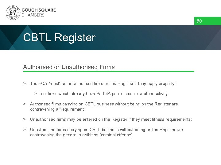 """80 CBTL Register Authorised or Unauthorised Firms > The FCA """"must"""" enter authorised firms"""