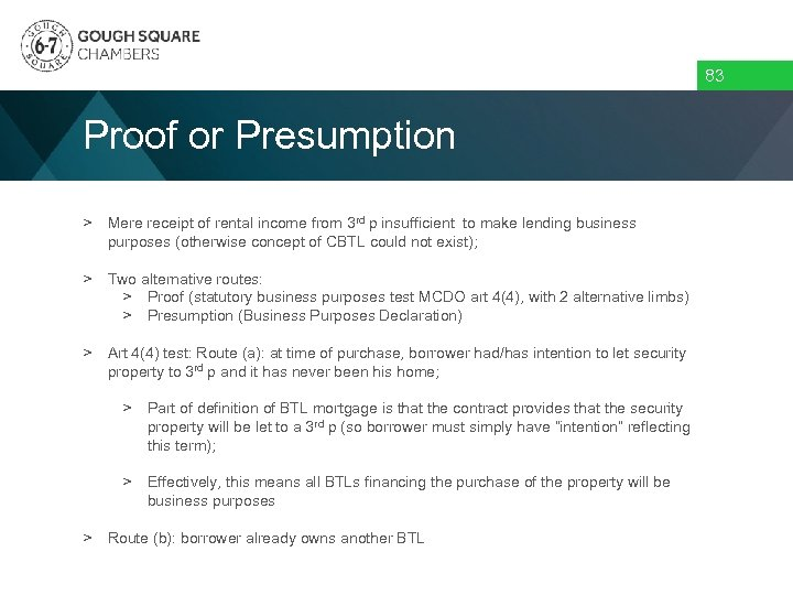 83 Proof or Presumption > Mere receipt of rental income from 3 rd p