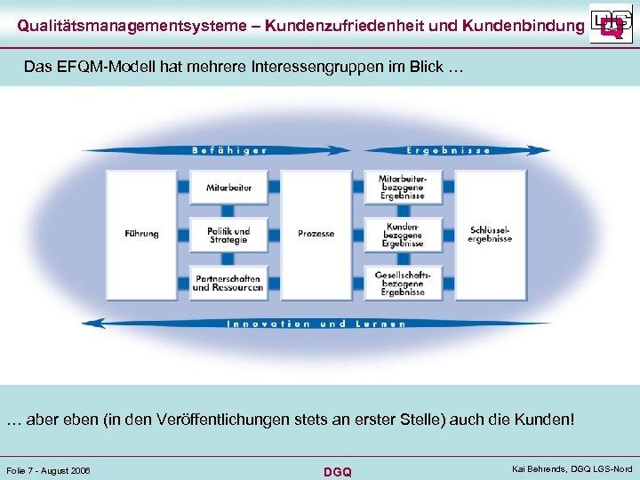 Qualitätsmanagementsysteme – Kundenzufriedenheit und Kundenbindung Das EFQM-Modell hat mehrere Interessengruppen im Blick … …