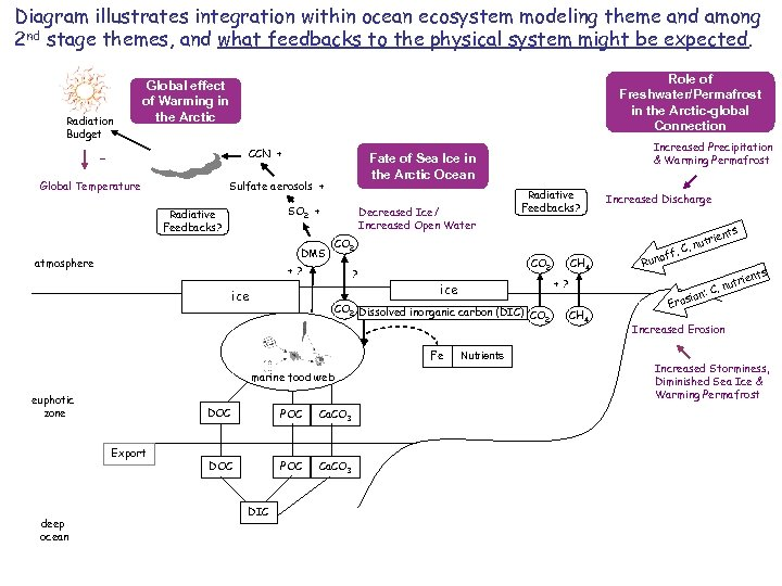 Diagram illustrates integration within ocean ecosystem modeling theme and among 2 nd stage themes,