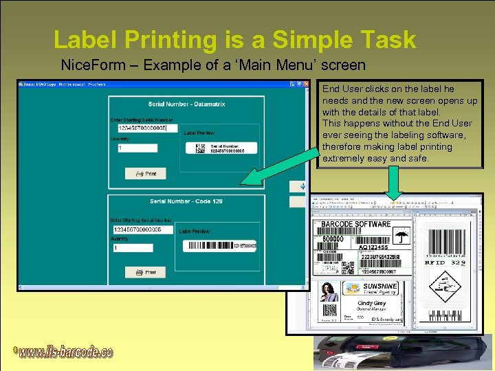 Label Printing is a Simple Task Nice. Form – Example of a 'Main Menu'