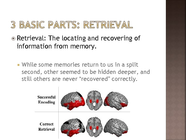 Retrieval: The locating and recovering of information from memory. While some memories return
