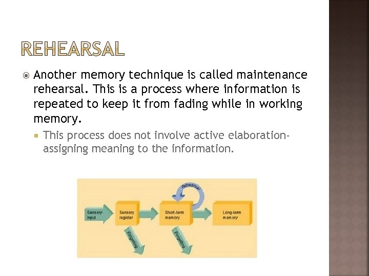 Another memory technique is called maintenance rehearsal. This is a process where information