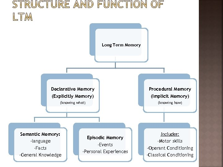 Long Term Memory Declarative Memory (Explicitly Memory) Procedural Memory (Implicit Memory) (knowing what) (knowing