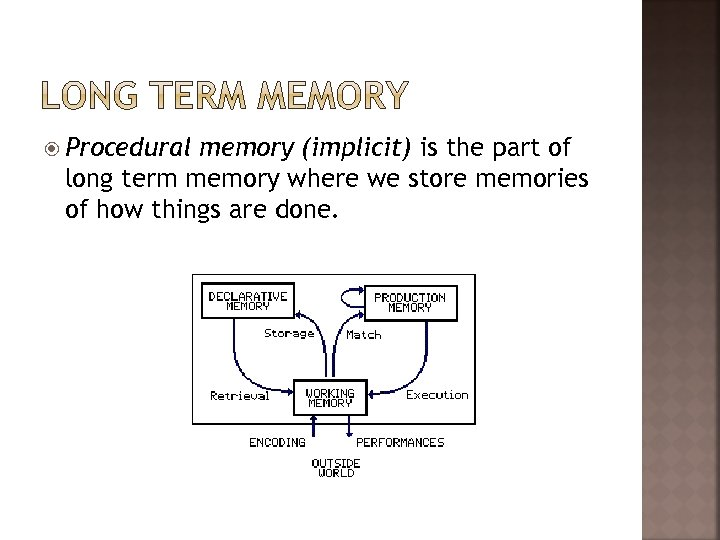 Procedural memory (implicit) is the part of long term memory where we store