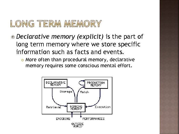 Declarative memory (explicit) is the part of long term memory where we store