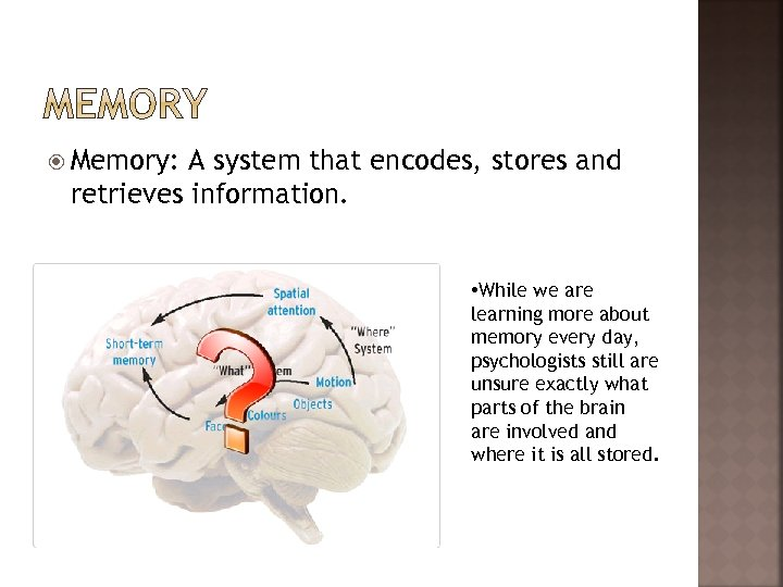 Memory: A system that encodes, stores and retrieves information. • While we are