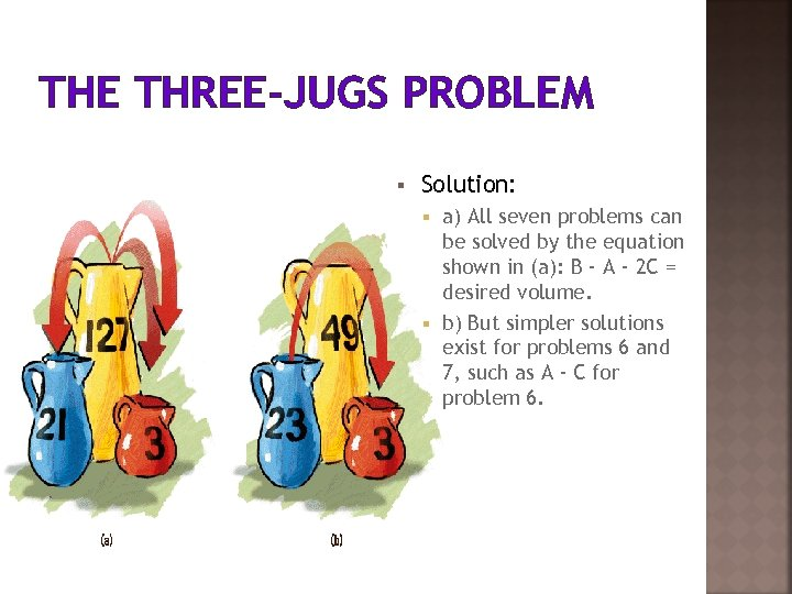 THE THREE-JUGS PROBLEM § Solution: a) All seven problems can be solved by the