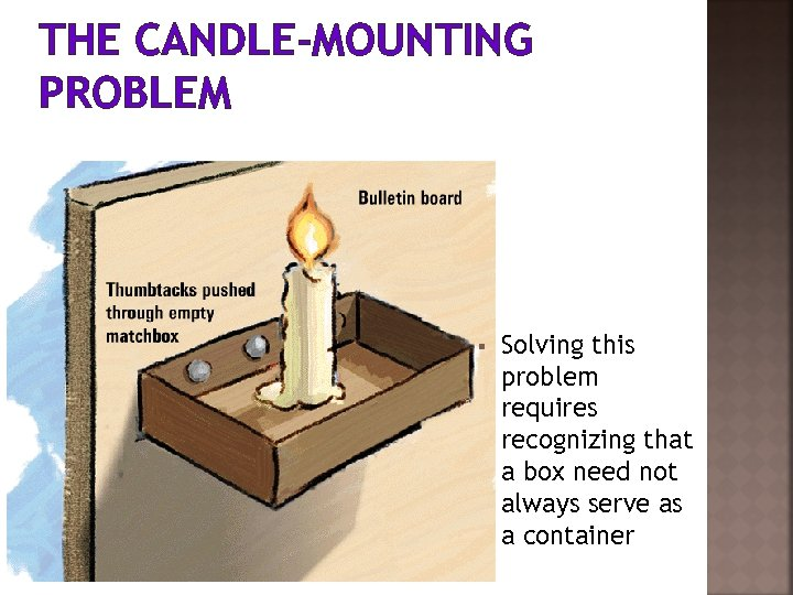 THE CANDLE-MOUNTING PROBLEM § Solving this problem requires recognizing that a box need not