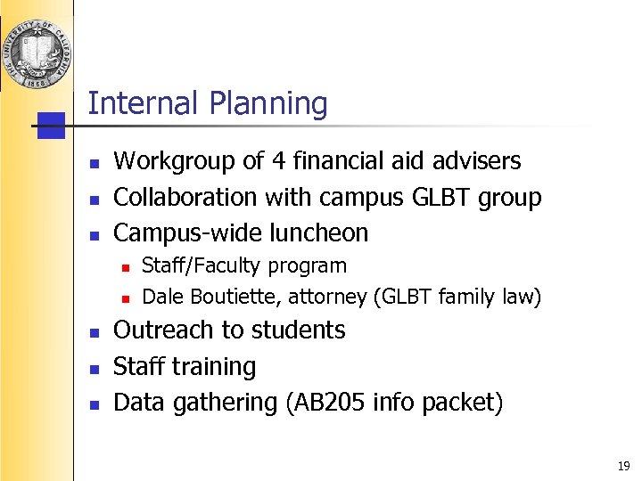 Internal Planning n n n Workgroup of 4 financial aid advisers Collaboration with campus