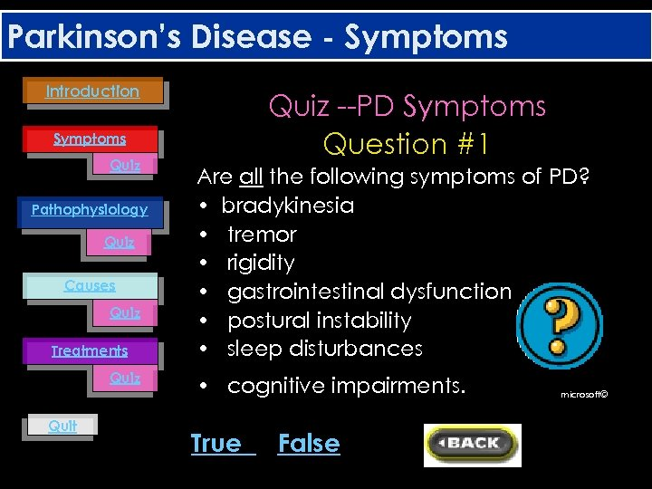Parkinson's Disease - Symptoms Introduction Quiz --PD Symptoms Question #1 Symptoms Quiz Pathophysiology Quiz