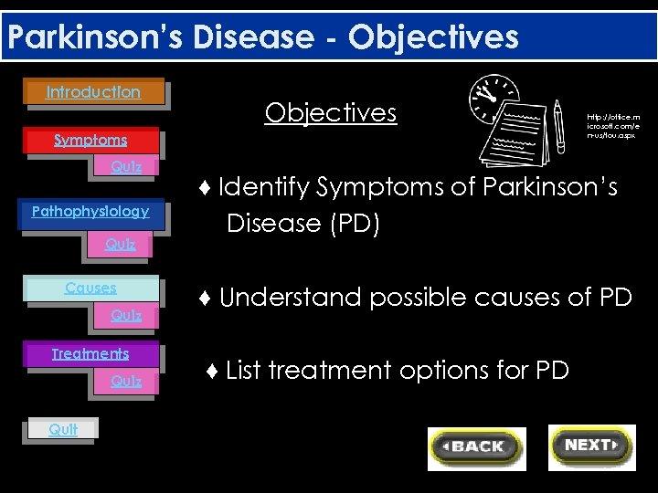 Parkinson's Disease - Objectives Introduction Objectives Symptoms Quiz Pathophysiology Quiz Causes Quiz Treatments Quiz