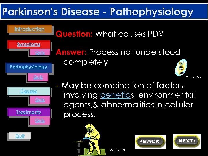 Parkinson's Disease - Pathophysiology Introduction Question: What causes PD? Symptoms Quiz Pathophysiology Answer: Process