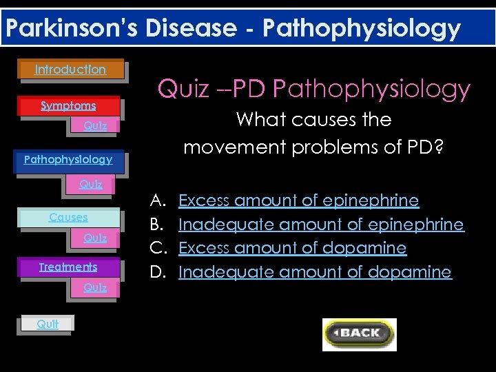 Parkinson's Disease - Pathophysiology Introduction Symptoms Quiz --PD Pathophysiology What causes the movement problems