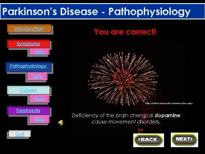 Parkinson's Disease - Pathophysiology Introduction You are correct! Symptoms Quiz Pathophysiology Quiz Causes Quiz