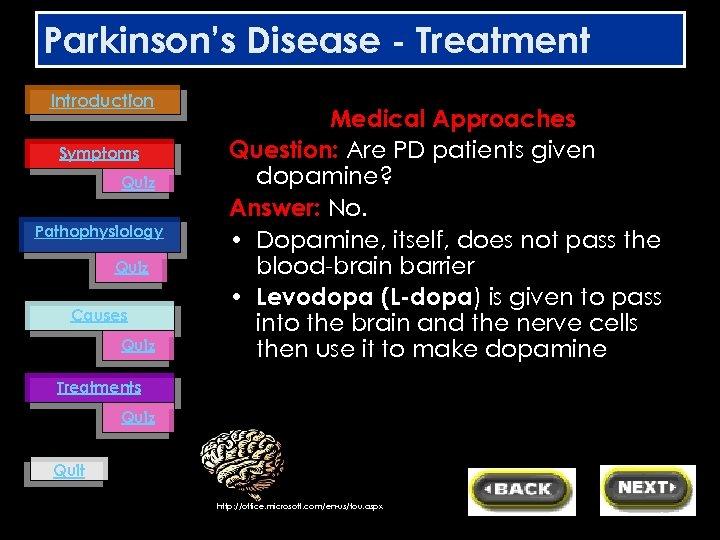 Parkinson's Disease - Treatment Introduction Symptoms Quiz Pathophysiology Quiz Causes Quiz Medical Approaches Question:
