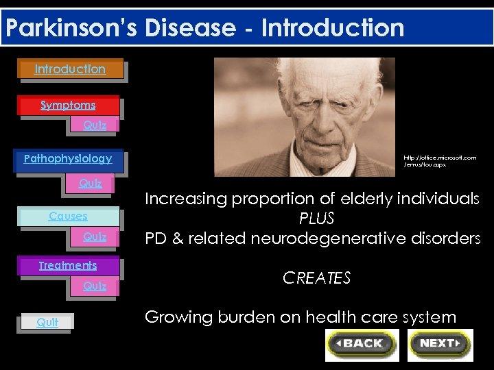 Parkinson's Disease - Introduction Symptoms Quiz Pathophysiology Quiz Causes Quiz Treatments Quiz Quit http: