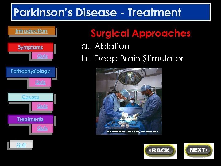 Parkinson's Disease - Treatment Introduction Symptoms Quiz Surgical Approaches a. Ablation b. Deep Brain