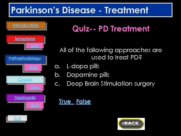 Parkinson's Disease - Treatment Introduction Quiz-- PD Treatment Symptoms Quiz Pathophysiology Quiz Causes Quiz