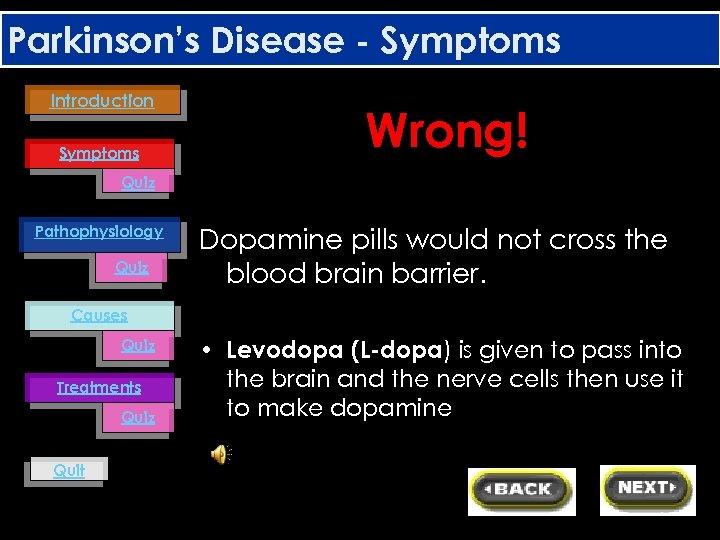 Parkinson's Disease - Symptoms Introduction Symptoms Wrong! Quiz Pathophysiology Quiz Dopamine pills would not