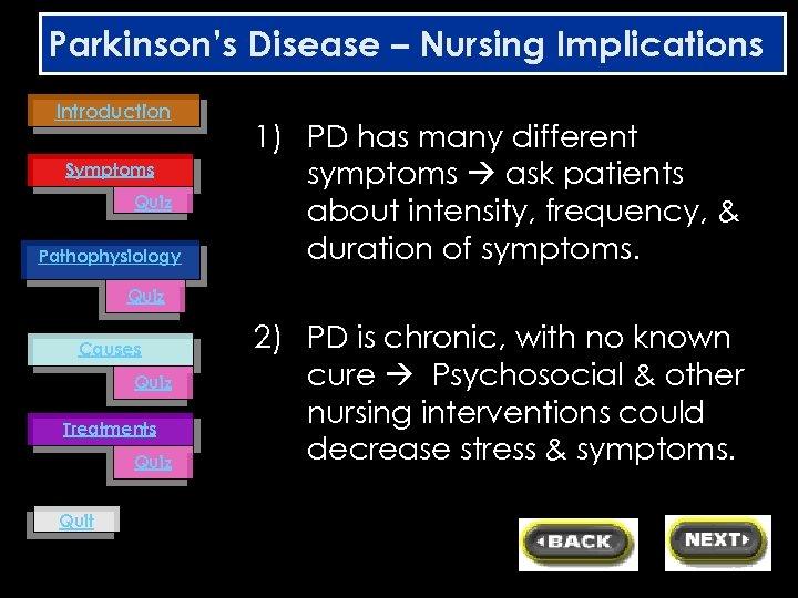 Parkinson's Disease – Nursing Implications Introduction Symptoms Quiz Pathophysiology 1) PD has many different