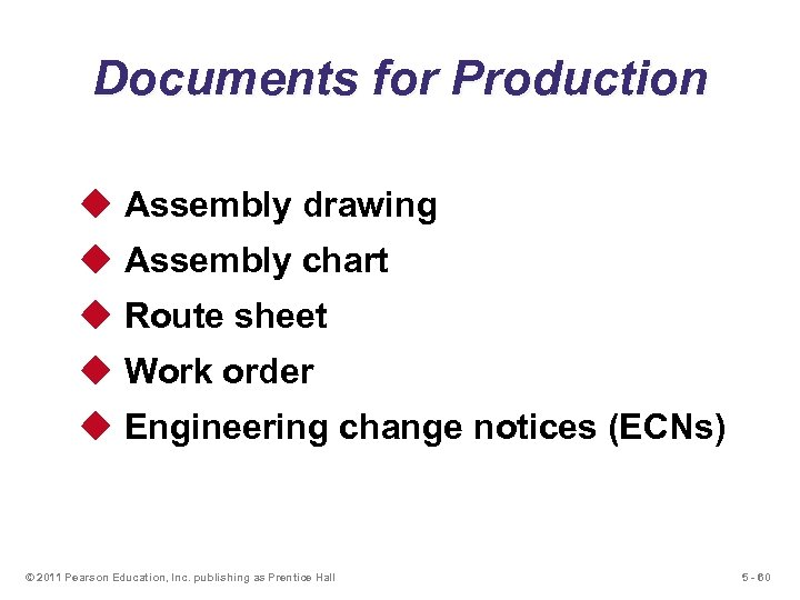 Documents for Production u Assembly drawing u Assembly chart u Route sheet u Work