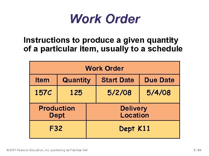 Work Order Instructions to produce a given quantity of a particular item, usually to