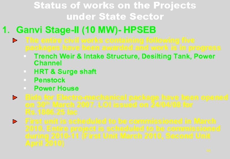Status of works on the Projects under State Sector 1. Ganvi Stage-II (10 MW)-