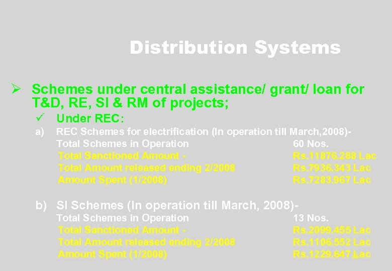 Distribution Systems Ø Schemes under central assistance/ grant/ loan for T&D, RE, SI &