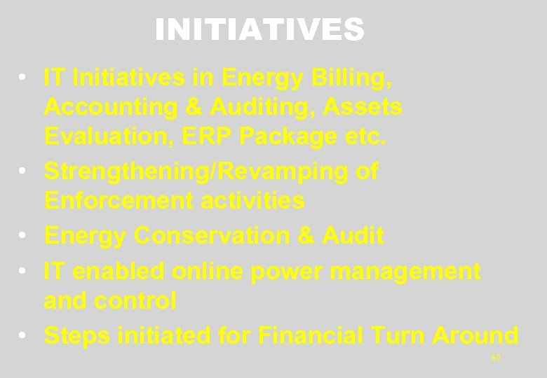 INITIATIVES • IT Initiatives in Energy Billing, Accounting & Auditing, Assets Evaluation, ERP Package