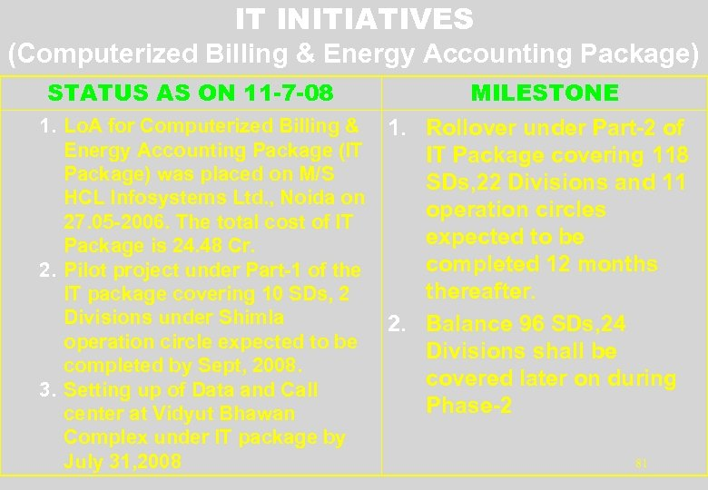 IT INITIATIVES (Computerized Billing & Energy Accounting Package) STATUS AS ON 11 -7 -08