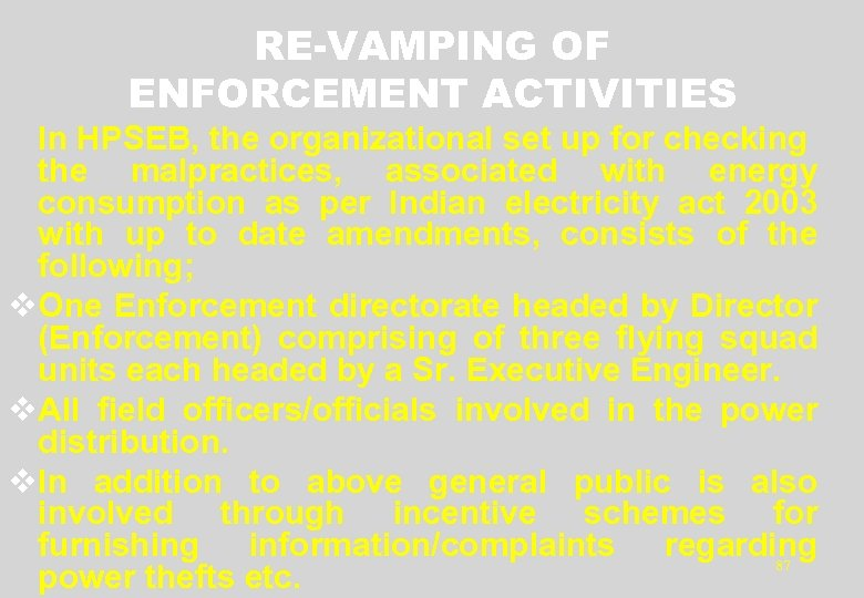 RE-VAMPING OF ENFORCEMENT ACTIVITIES In HPSEB, the organizational set up for checking the malpractices,